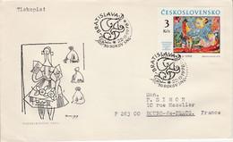 TCHECOSLOVAQUIE 1978 LETTRE PEINTURE DE LUDOVIT FULLA POUR LA FRANCE - Cartas