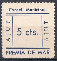 Sello Viñeta PREMIA De MAR (Barcelona) 5 Cts, AJUT, Guerra Civil, Acento Cerrado * - Vignette Della Guerra Civile