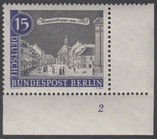!a! BERLIN 1962 Mi. 220 MNH SINGLE From Lower Right Corner W/ Formnumber -Old Berlin Town-views: Mauerstraße - Ongebruikt