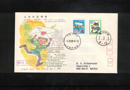 Japan 1989 Letter Writing Day - Self Adhesive Stamps From Stamp Booklet FDC - Cartas