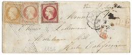 France 1856 Cover To California America Via New York  Franking 10x2+80c Napoleon 1e.8 - 1853-1860 Napoléon III.