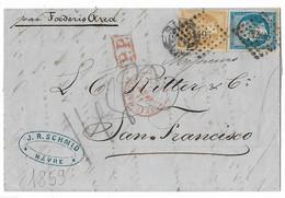 France 1859 Cover To San Francisco America  Franking 10c+20c Napoleon 1e.10 - 1853-1860 Napoléon III.