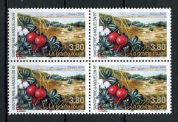 SPM Miquelon 2000 N° 710 ** Bloc De 4 Neuf MNH Superbe C 8 € Flore La Graine Rouge Flora Fruits - Neufs