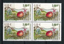 SPM MIQUELON 2001 N° 740 ** Bloc De 4 Neuf MNH Superbe C 8.40 €  Fruits La Grisette Fleurs Flowers - Neufs