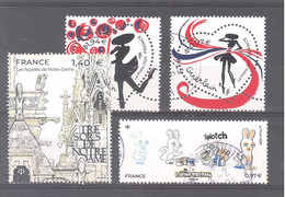 France Oblitérés : 5415 (Lapins Crétins) - 5429A (Trésors De ND) - N°5373 & 5374 (cachet Rond) - Gebruikt