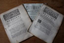 1780 ROUEN Madame  De Nanthiat  Contre Le Sieur De Saint WAST Mémoires 3 Pièces - Historical Documents