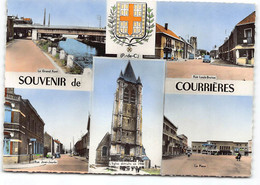 Courrieres Multivues Blason. Edit Cim.  Rue Louis Breton,  La Place, Rue Jean Jaures. - Andere Gemeenten
