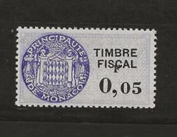 TIMBRES FISCAUX DE MONACO SERIE UNIFIEE  VARIETE F De La Valeur Décalé Sur N° 60 0,F05(**) - Fiscaux