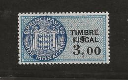 TIMBRES FISCAUX DE MONACO SERIE UNIFIEE  VARIETE F De La Valeur Décalé Sur N° 68 3,F00 Bleu (**) - Fiscaux