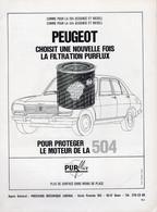 PUBLICITÉ - AUTOMOBILE - PEUGEOT 504 - FILTRE PURFLUX - 1968 - Reclame