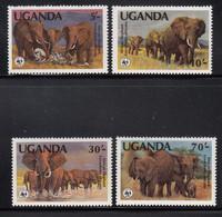 1983 Uganda WWF  Elephants  Complete Set Of 4  MNH - Uganda (1962-...)