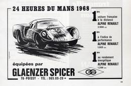 PUBLICITÉ - AUTOMOBILE - 24 HEURES DU MANS - GLAENZER SPICER - 1968 - Reclame