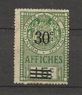 TIMBRES FISCAUX DE MONACO AFFICHES  N°13 30 C Sur 15 C VERT - Fiscaux
