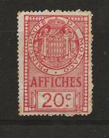 TIMBRES FISCAUX DE MONACO AFFICHES  N°12 20 C ROIUGE - Fiscaux
