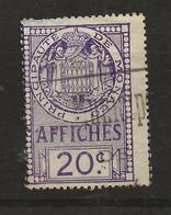 TIMBRES FISCAUX DE MONACO AFFICHES  N°10 20 C VIOLET - Fiscaux