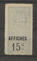 TIMBRES FISCAUX DE MONACO AFFICHES  N°3  15 C  Bleu - Fiscaux