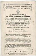 MONS / DEUX-ACREN (Château) - Isabelle COSSEE De SEMERIES - Douairière A. De BAGENRIEUX Des ISLES - °1782 Et + 1855 - Images Religieuses