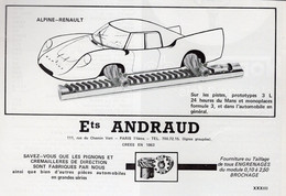 PUBLICITÉ - AUTOMOBILE - ALPINE RENAULT - Ets ANDRAUD - 1969 - Reclame