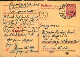 1941, 15 Pfg. Hindenburg Fragekarte  Ab BOCHUM HORDEL In Das KLV-Lager Piestany (Slowakei) - Covers