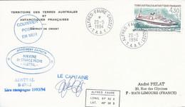 """TAAF - Alfred Faure-Crozet: Lettre """"Austral"""" Avec Timbre N°191 Le Kerguelen De Trémarec - 20/05/1994 - Cartas"""