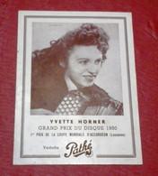 Fiche Vedette Pathé Yvette Horner Discographie Et Référence Des Disques Au Dos - Unclassified