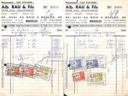 Bruxelles - Poissonnerie Les Viviers Alb. Rau & Fils  - Vismet - Lot 3 Factures 1946 - Food