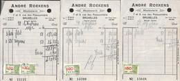 Bruxelles - Moutonnerie André Roekens - Lot 3 Factures 1946 - Food