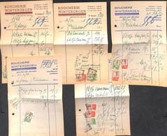 Bruxelles Bourse - Boucherie Wintergroen - Lot 5 Factures 1946 - Food