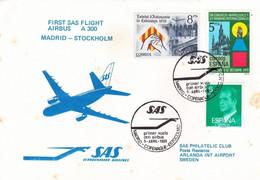 Espagne Env SAS Vol A300 Madrid 05/04/80 - 1961-70 Cartas