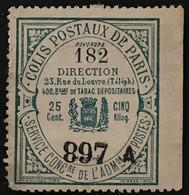 Colis Postaux De Paris N°22 25c Vert-bleu Sur Bistre Légende 400 Bureaux De Tabac (°) (Maury 55 Euros) France – Cplot - Oblitérés