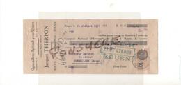 Quincaillerie Pour Usines J. THIRION Ex Defays 76 Rouen / 27 St Sylvestre De Cormeilles Eure 1933 Timbre Fiscal 30cMR110 - Bills Of Exchange