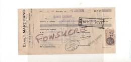 Etablissements MARCHAND 76 Rouen / 27 St Sylvestre De Cormeilles Eure Couverture Couvreur 1935 Timbre Fiscal 15c MR109 - Bills Of Exchange