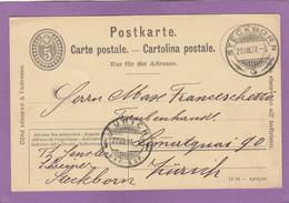 GANZSACHE VON EINEN SCHREINER IN STECKBORN  AN EINEM TRAUBENHANDEL IN ZÜRICH. - Stamped Stationery