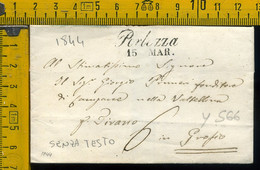 Piego Senza Testo Porlezza Como Per Tirano Sondrio - 1. ...-1850 Prephilately