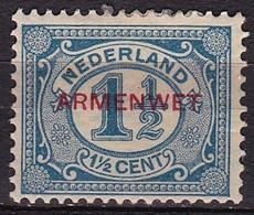 1913 Dienstzegels 1½ Cent Donkerblauw (53) Met Rode Opdruk ARMENWET NVPH D 8 Ongestempeld - Officials