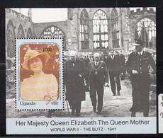 1990 Uganda Queen Mother CHURCHILL WWII Blitz Souvenir Sheet MNH - Uganda (1962-...)