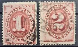 USA 1891- Canceled - Sc# J22, J23 - Postage Due 1c 2c - Portomarken