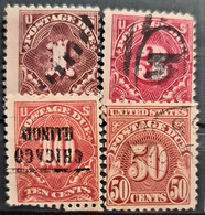 USA 1917 - Canceled - Sc# J61, J63, J65, J66 - Postage Due - Portomarken