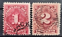 USA 1910/12 - Canceled - Sc# J45, J46 - Postage Due 1c 2c - Portomarken