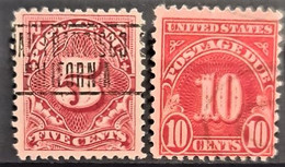 USA 1917 - Canceled - Sc# J64, J65 - Postage Due 5c 10c - Portomarken