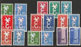 1958 - Europa CEPT - Année Complète - 8 Pays, 18 Valeurs MNH ** - 1958