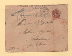 Paris 7 Affranchissement 7 - 17 Mai 1884 - Recommande - Type Sage - 1877-1920: Semi Modern Period