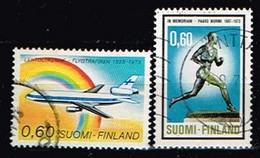 FINLANDE/Oblitérés/Used/1973 - Aviation, Sportif / YVT N°702,706  - MI.N°738,742 - Oblitérés