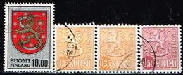 FINLANDE/Oblitérés/Used/1974 - Armoirie, Série Courante / YVT N°708,709/709a/710  - MI.N°744,746I,746II,747 - Oblitérés