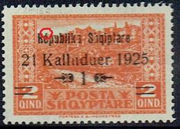 "ALBANIA 1925 1 On 2q Overprint Variety In ""Republika"" SG 171c MH - Albania"