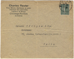 """FRANCE / Alsace-Lorraine - 1919 - Yv.1340 Obl De """" ROMBAS """" Sur LSC Pour Paris - 1877-1920: Période Semi Moderne"""