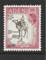 Aden 1953 QEII Definitives 2/- Camel Sepia Centre MNH - Aden (1854-1963)