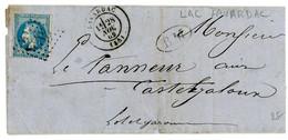 LOT ET GARONNE LAC DATEE LAVARDAC 1869 LAVARDAC T17 GC 2989 + BM BOITE MOBILE => CASTELJALOUX  SCAN VERSO DIVERS CACHETS - 1849-1876: Classic Period