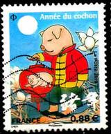 France Poste Obl Yv:5296 Mi:7244 Année Du Cochon (Lign.Ondulées) - 2010-.. Matasellados