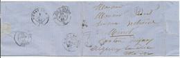 LST 1863 LETTRE REMISE A  AMBULANT PAR FACTEUR AVANT SON RETOUR LEVEE BOITE G=NON IDENTIFIEE - 1849-1876: Classic Period